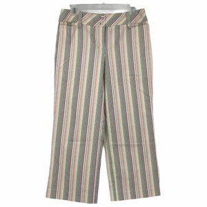 Loft Womens Ann Fit Striped Cropped Pants Size 8